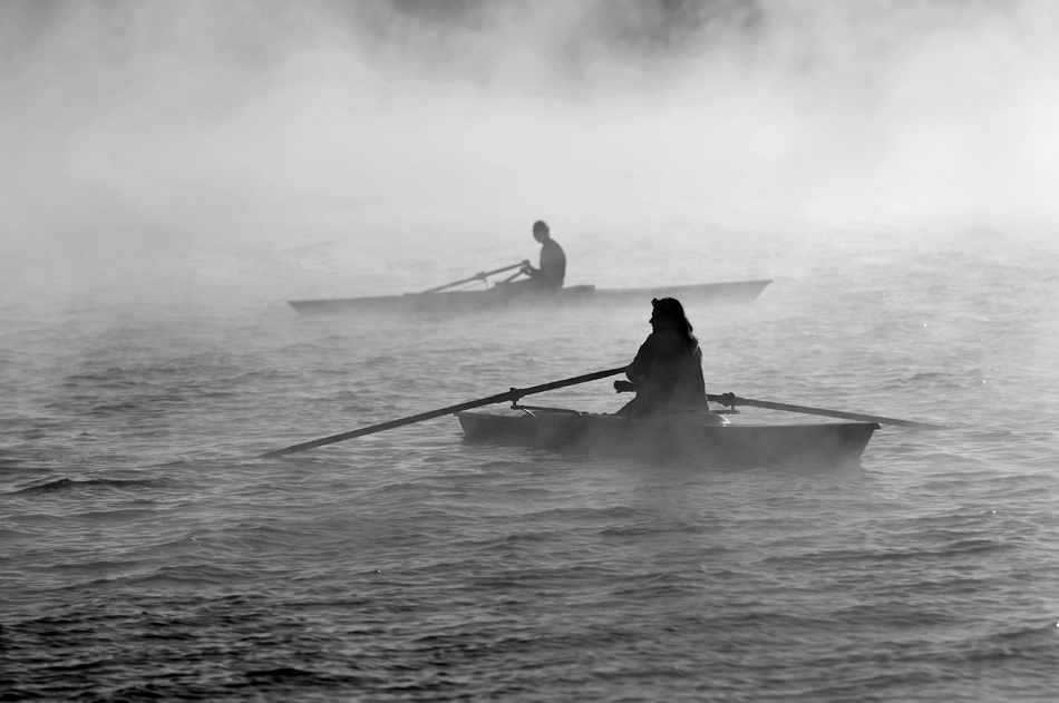 A piece of fine art art photography titled Rowing In the Fog by rcamargo