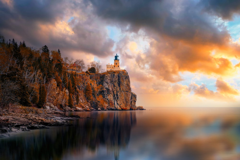 View this piece of fine art photography titled A Cloudy Day at Split Rock Lighthouse by Like He