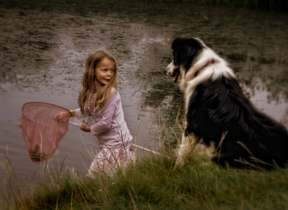 A piece of fine art art photography titled The Girl, the Dog and the Frog by Yvette Depaepe