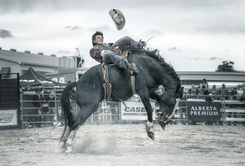 A piece of fine art art photography titled Cowboy In Action by Larry Deng