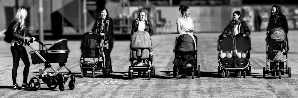 A piece of fine art art photography titled Pram Race? by John Bull