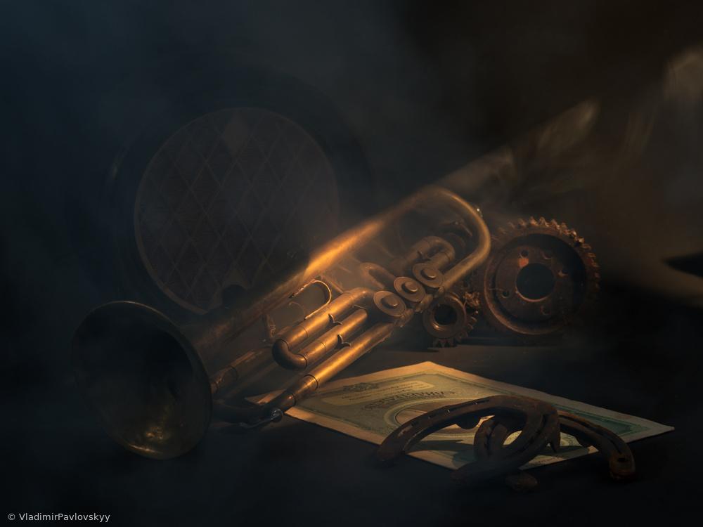 View this piece of fine art photography titled Натюрморт с трубой и подковами by çiçek kıral