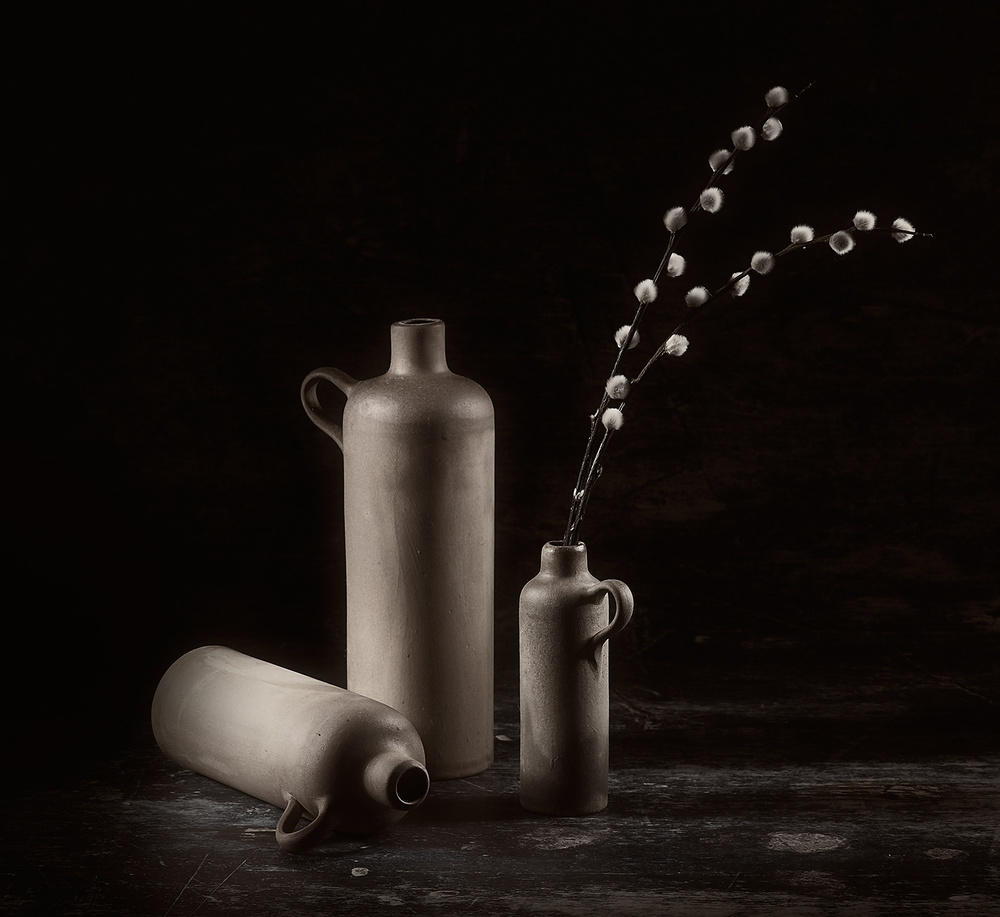 A piece of fine art art photography titled Clay Pots by Gretelill Svendsen