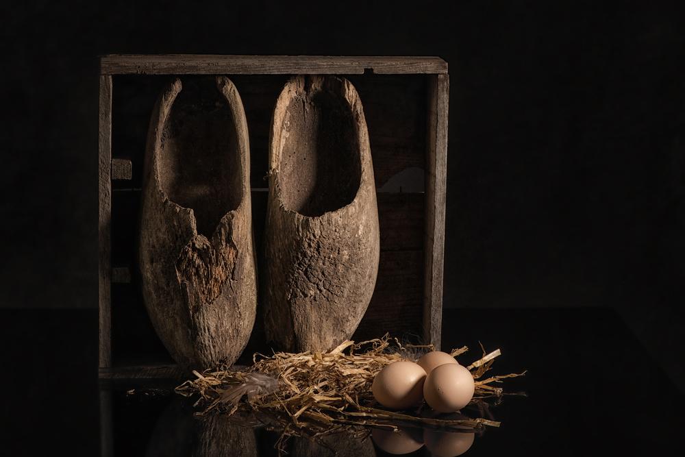 A piece of fine art art photography titled Old Wooden Shoes by Monique van Velzen