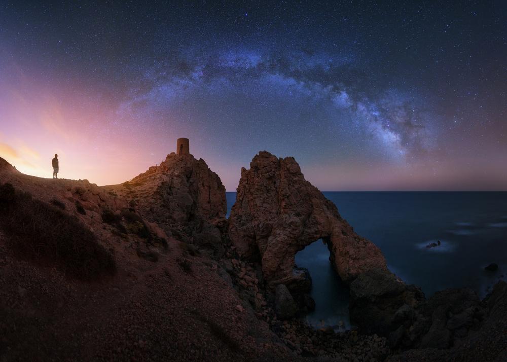 A piece of fine art art photography titled Mi Padre, La Torre, El Arco Y Las Estrellas by Juan Pablo de Miguel