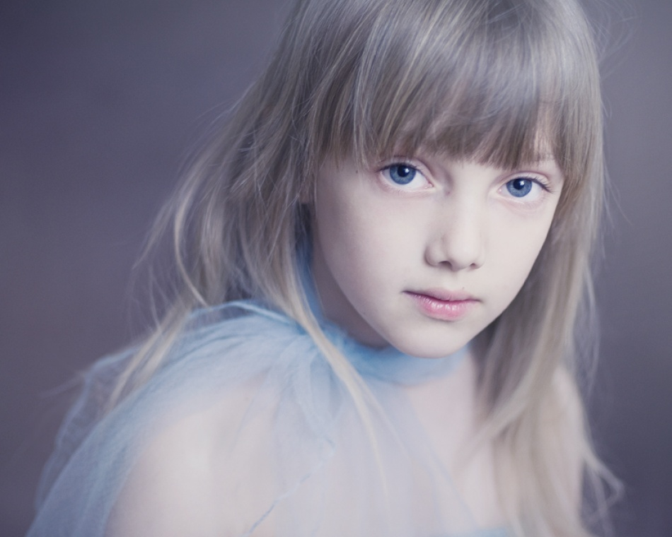 A piece of fine art art photography titled Blue Scarf by Magda Berny
