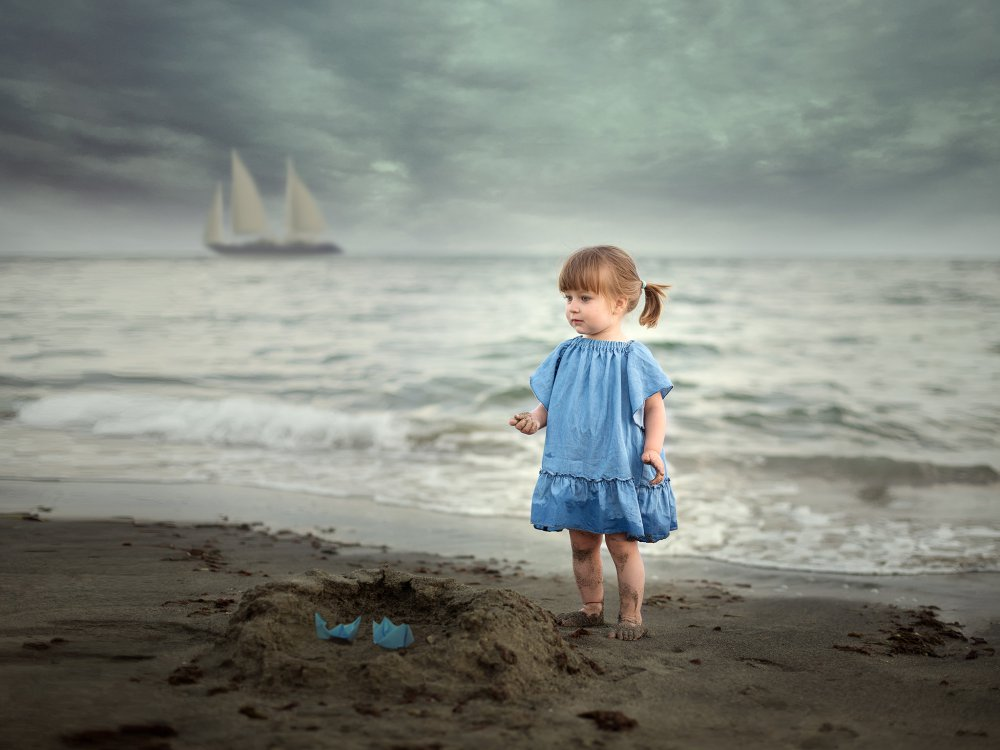 A piece of fine art art photography titled The  Young Lady and the Sea by daniel penciuc