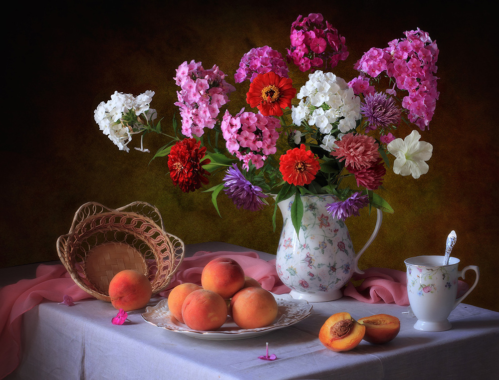 A piece of fine art art photography titled Still Life With Summer Bouquet and Peaches by Tatyana Skorokhod (Татьяна Скороход)