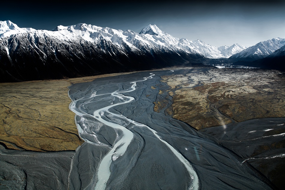 A piece of fine art art photography titled Aoraki/Mont Cook and Tasman Lake Valley by Tristan Shu