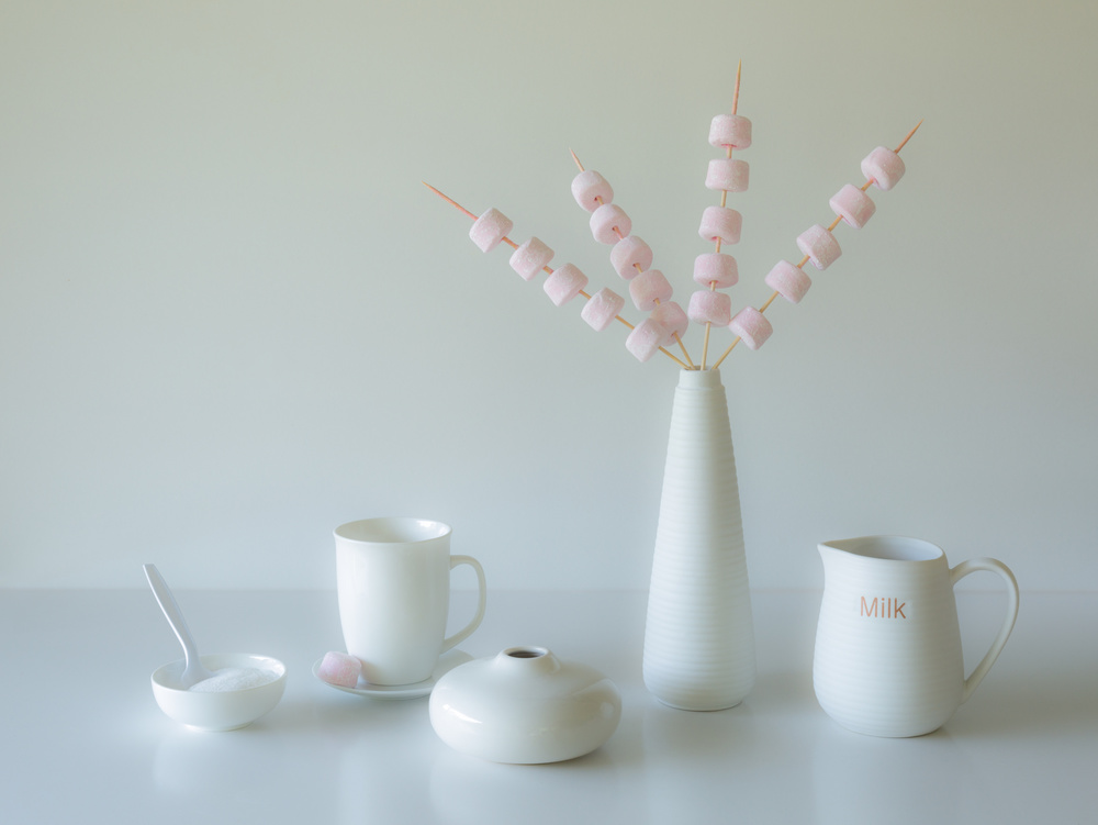 A piece of fine art art photography titled Marshmallow Teatime by Jacqueline Hammer