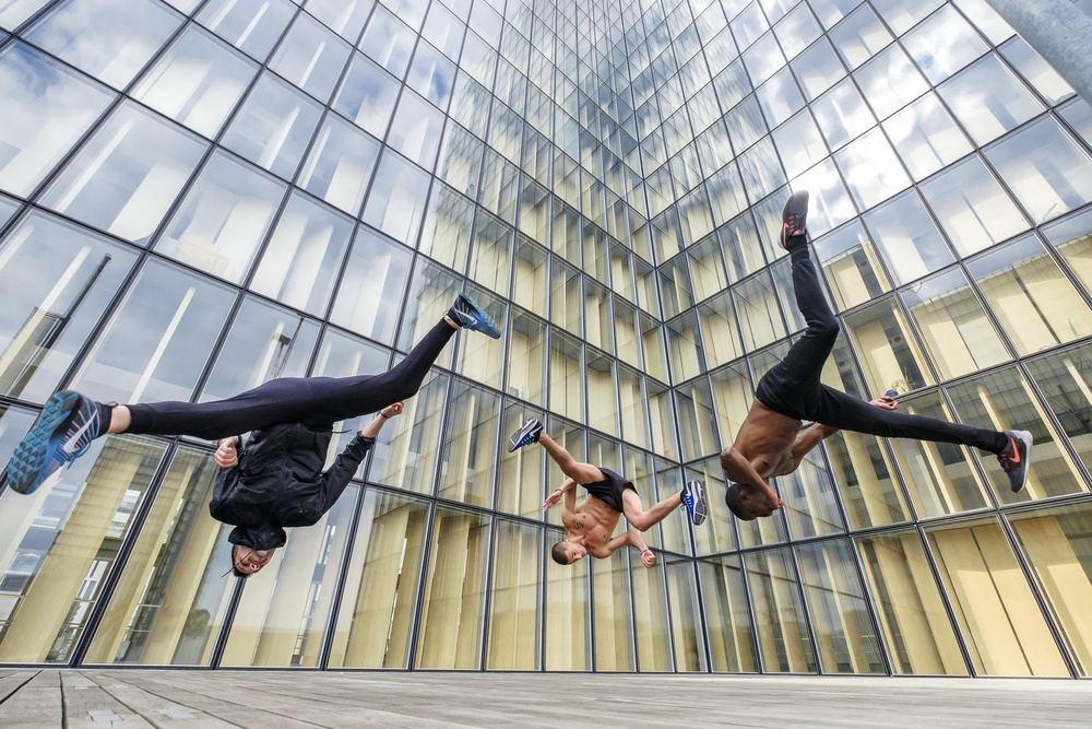A piece of fine art art photography titled Tricking With Ahmed Chouikhi, Mehdi Harhad & Kévin Cétout by Tristan Shu