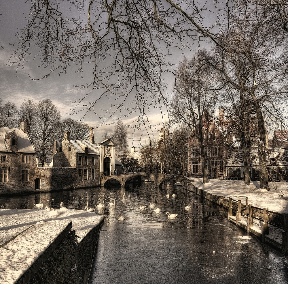 A piece of fine art art photography titled Bruges In Christmas Dress by Yvette Depaepe