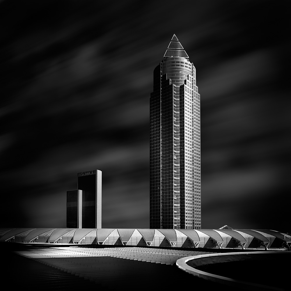 A piece of fine art art photography titled Frankfurt - Marriott and Messe Tower by Markus Pfeffer