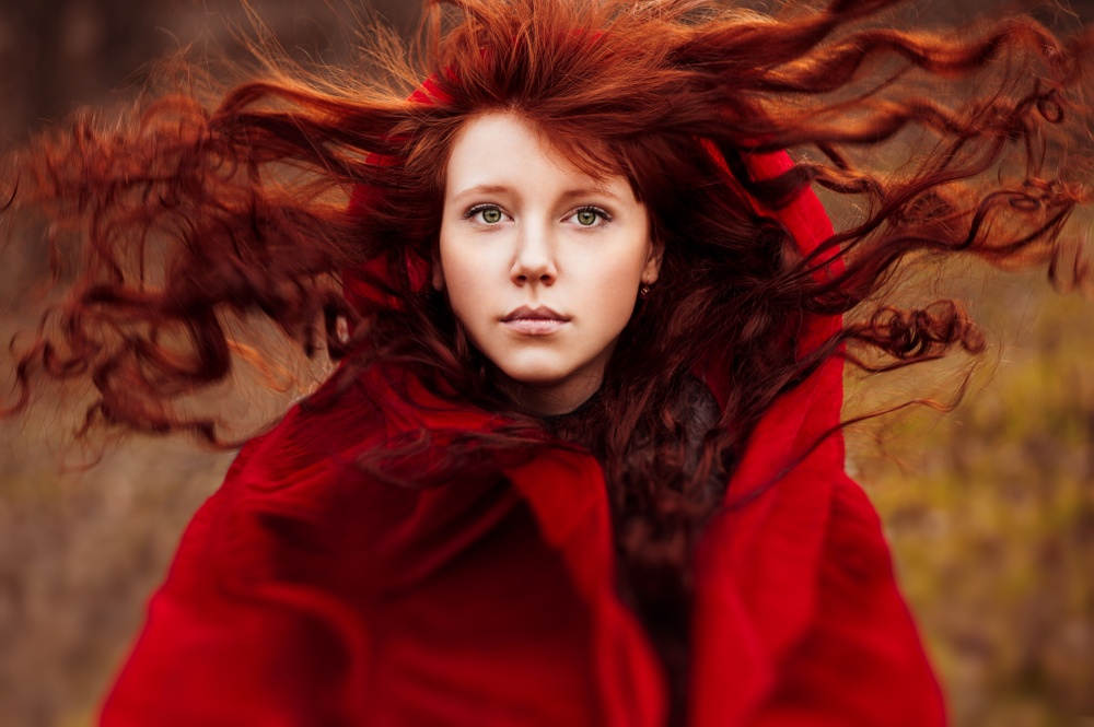 A piece of fine art art photography titled Red Riding Hood by Ann Nevreva