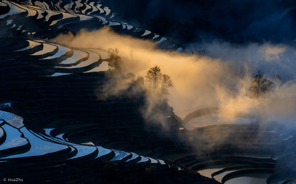 Sunset in Yuanyang rice terraces
