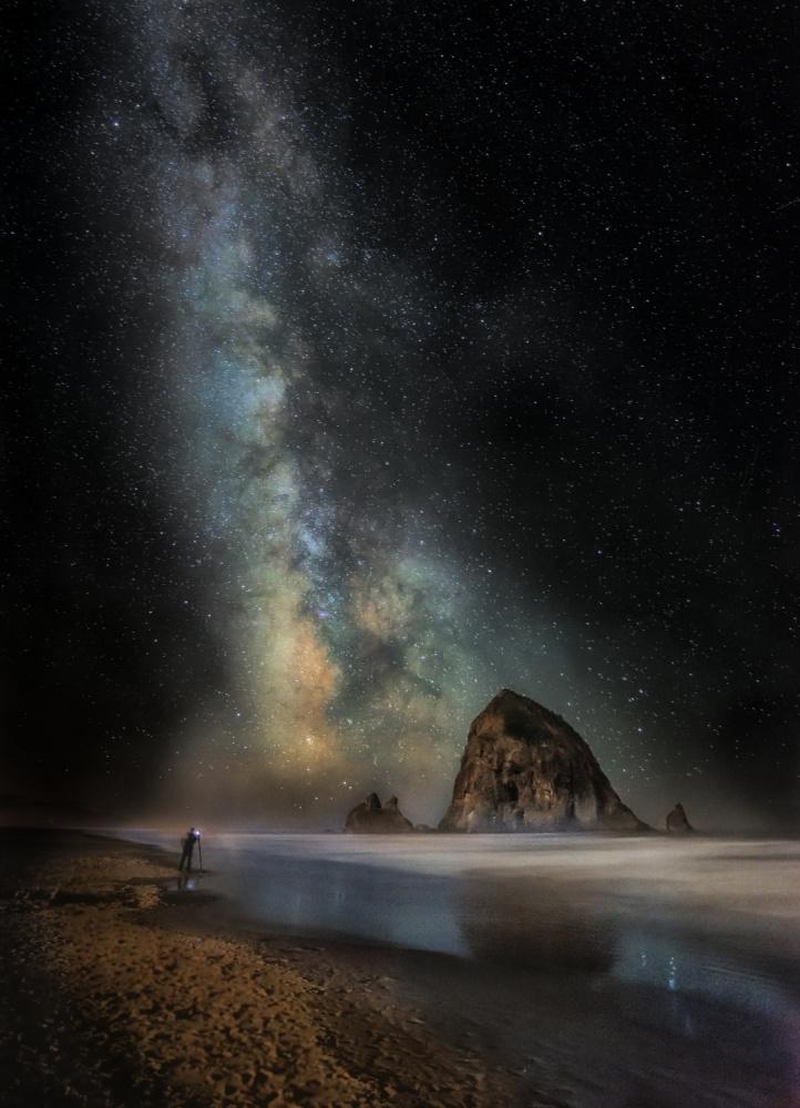A piece of fine art art photography titled Milky Way On Cannon Beach by Steve Hallmark