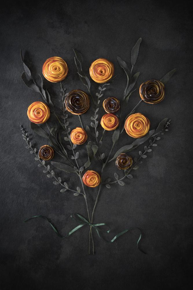 A piece of fine art art photography titled Peach and Plum Mini Tarts Bouquet by Diana Popescu