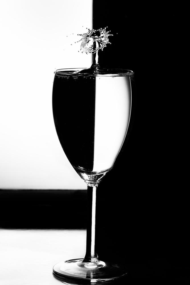 A piece of fine art art photography titled Splash Art - Refraction Mono by Howard Ashton-Jones