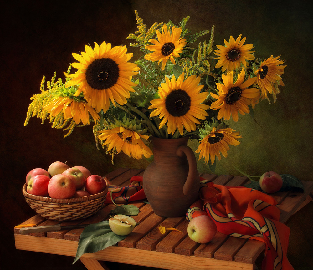A piece of fine art art photography titled Still Life With Sunflowers and Apples by Tatyana Skorokhod (Татьяна Скороход)