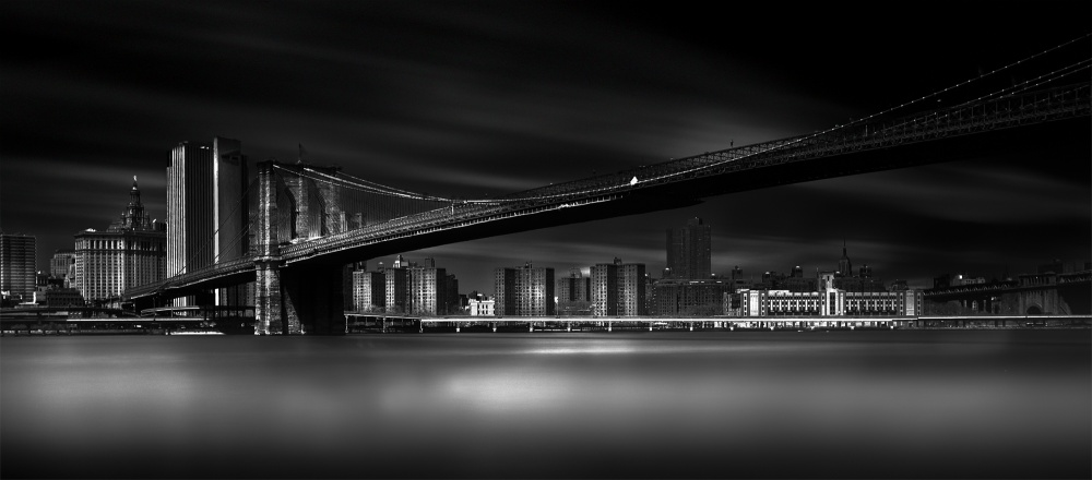A piece of fine art art photography titled Brooklyn Bridge (Gotham City) by Peter Futo