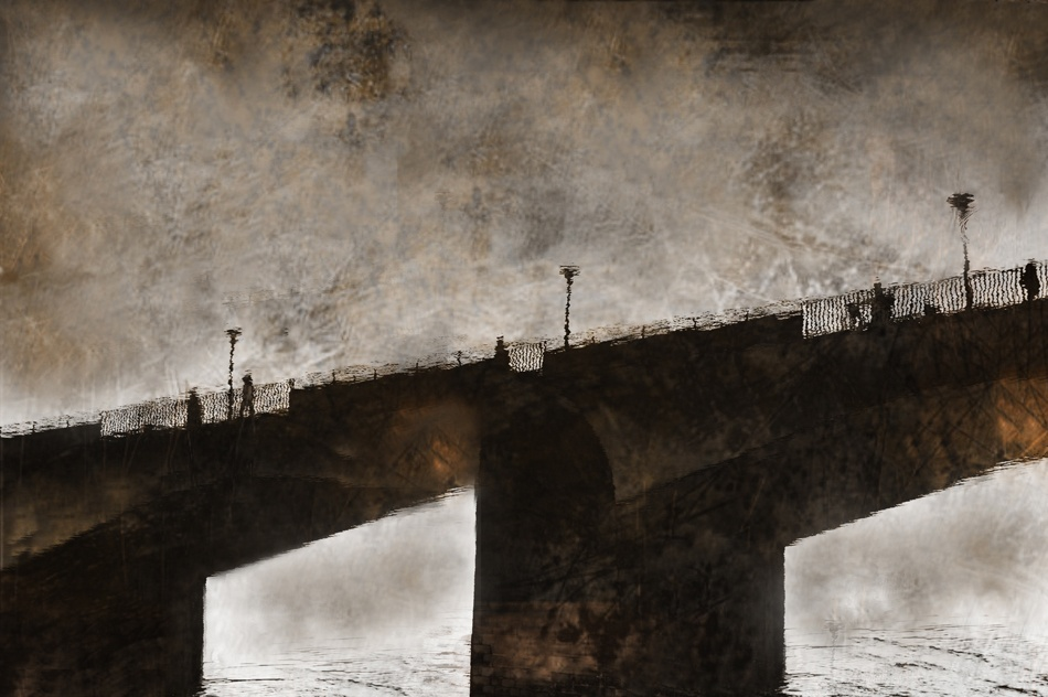 A piece of fine art art photography titled On the Bridge by Barbara