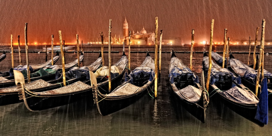 A piece of fine art art photography titled A Winter Night In Venice by Georges-Félix Cohen