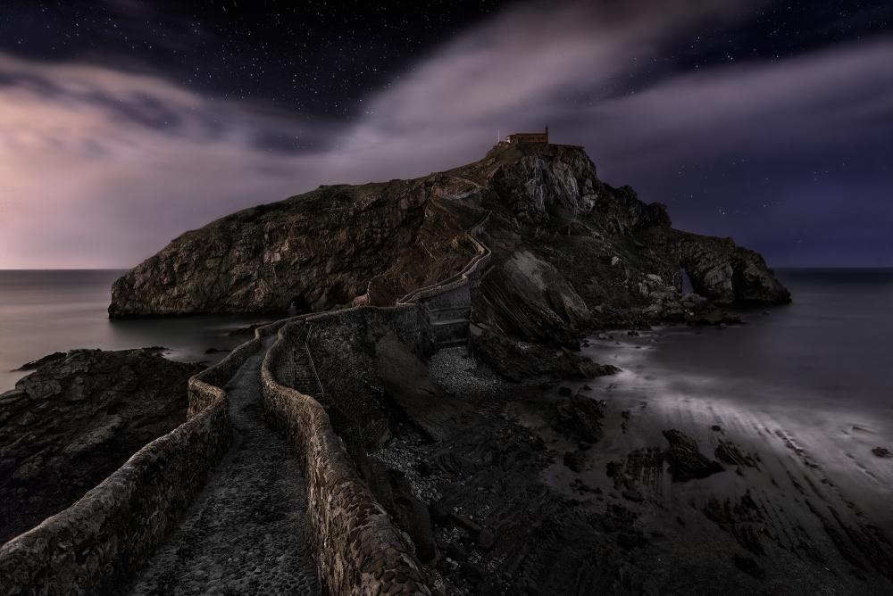 A piece of fine art art photography titled One Night In Gaztelugatxe by Fran Osuna