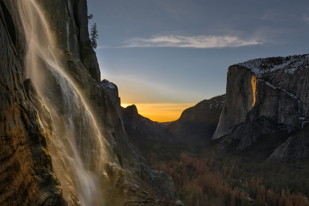 A piece of fine art art photography titled Yosemite Firefall by Hua Zhu