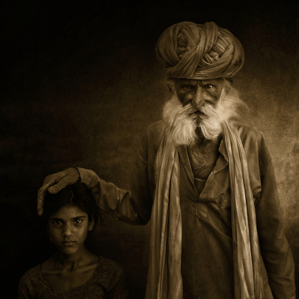 A piece of fine art art photography titled With Grandpa by Fadhel Almutaghawi