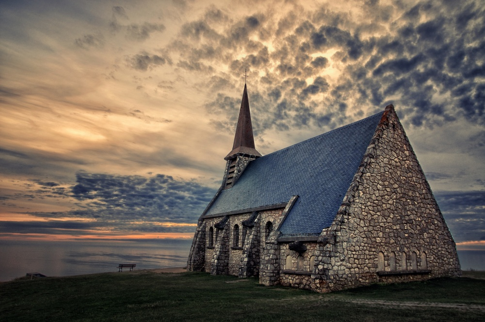 A piece of fine art art photography titled Etretat Chapel by Marvi