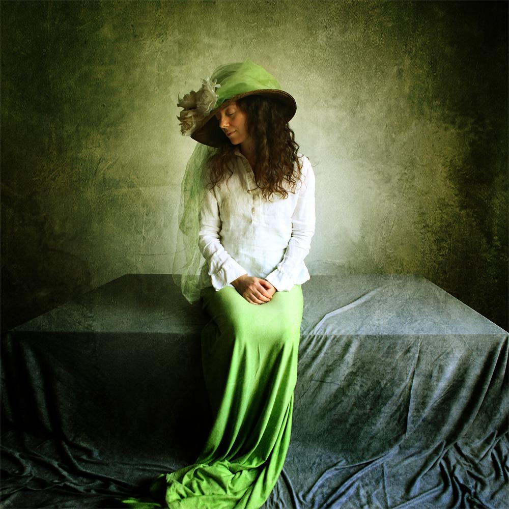 A piece of fine art art photography titled Eva In Green by Katerina Lomonosov