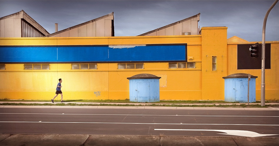 A piece of fine art art photography titled The Yellow Factory by Adrian Donoghue