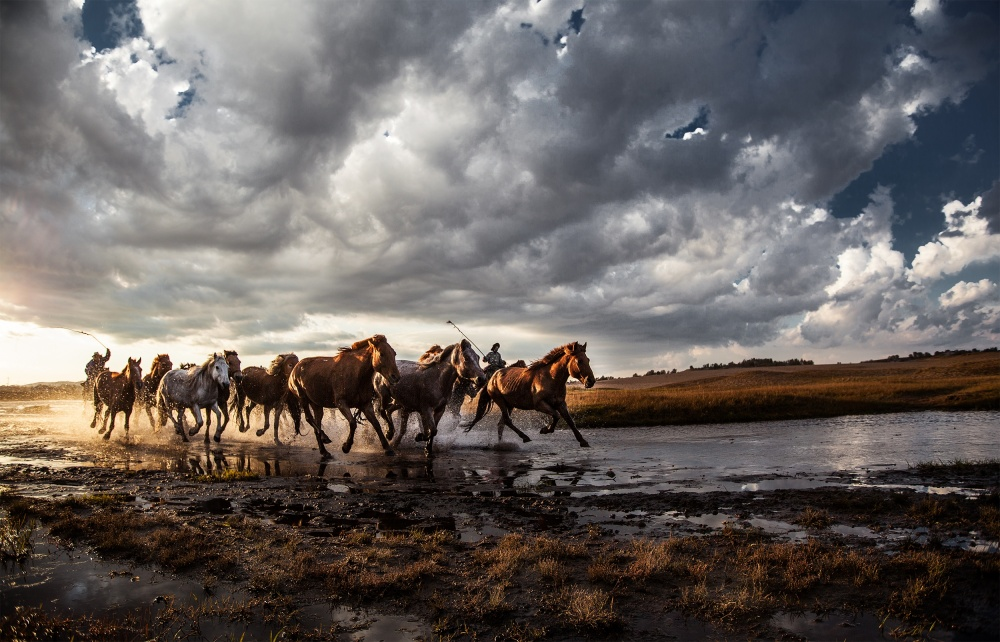 A piece of fine art art photography titled Gallop Between Heaven and Earth by Bluesnow