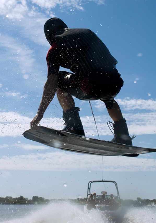A piece of fine art art photography titled Sunny Wakeboarding by Benny Rytter