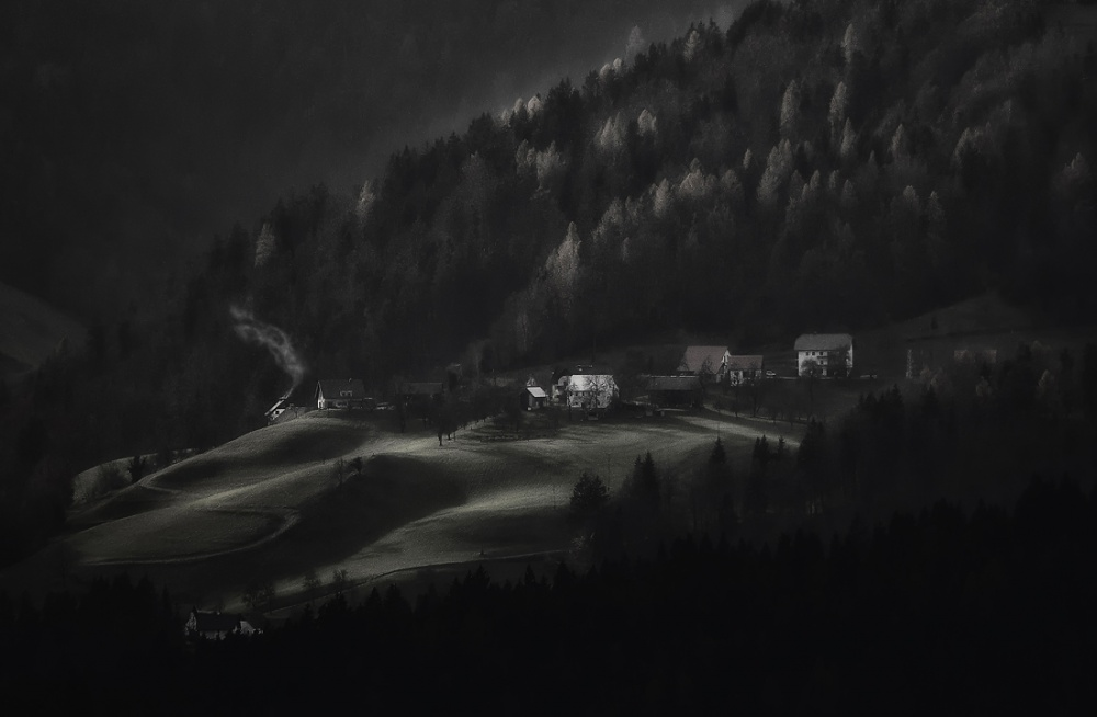 A piece of fine art art photography titled Mistery Village by Uroš Florjančič