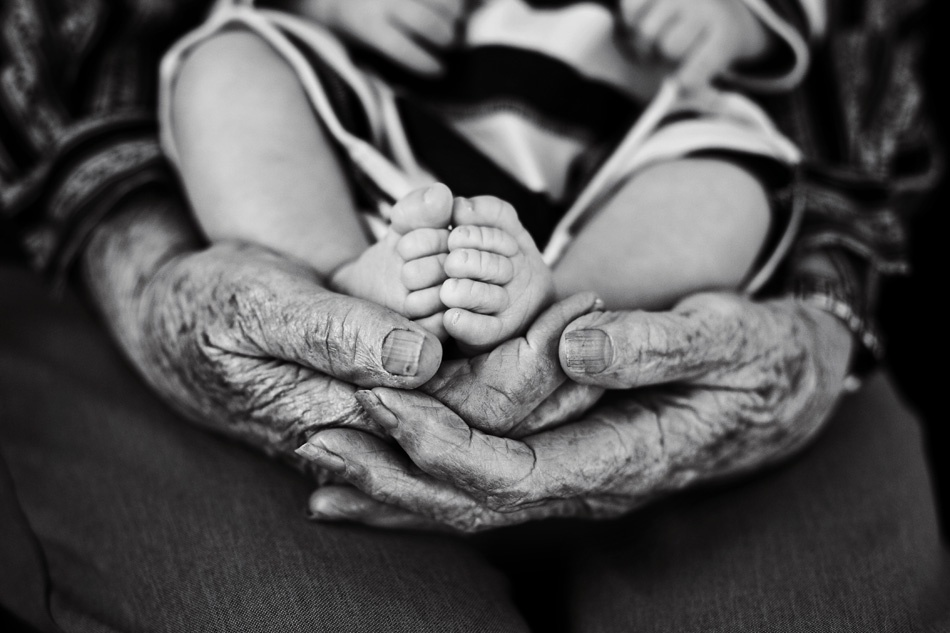 A piece of fine art art photography titled Great Grandma\'s Hands by stephanie beaty
