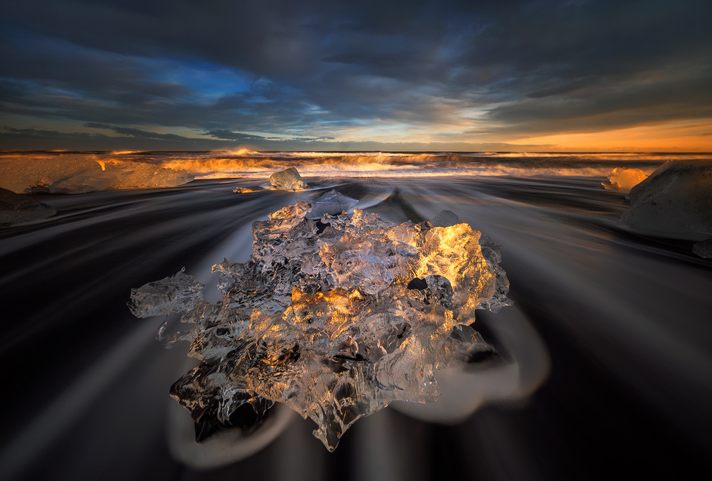 A piece of fine art art photography titled Jokulsarlon Diamond by Wojciech Kruczynski