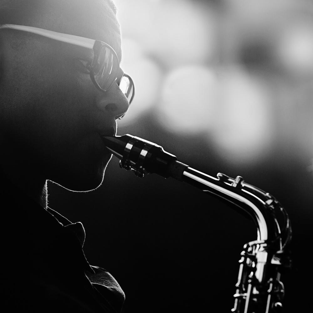 A piece of fine art art photography titled Saxophone Player-BW by Sanbao Zheng