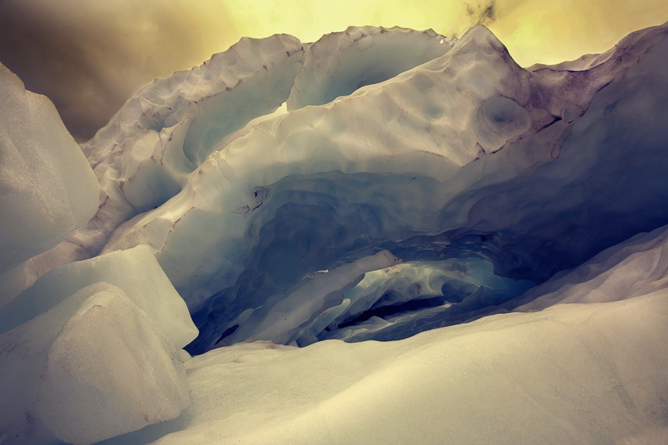 A piece of fine art art photography titled The Ice Cave by Mel Brackstone
