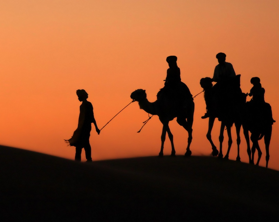 A piece of fine art art photography titled Sunset at Erg Chebbi by Rui Pires