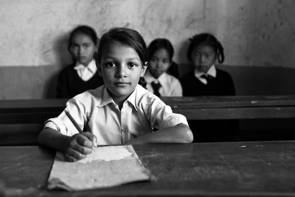 A piece of fine art art photography titled School In Nepal by Hesham Alhumaid