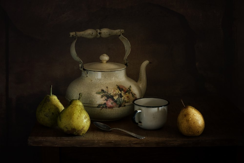 A piece of fine art art photography titled Still Life With Pears and a Kettle Vintage by Mykhailo Sherman