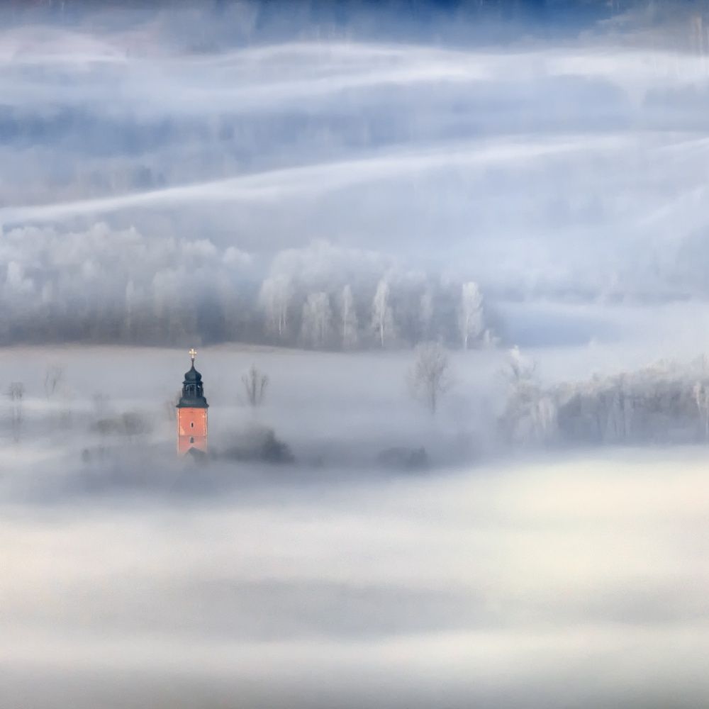 A piece of fine art art photography titled Bathed In Fog by Piotr Krol (Bax)