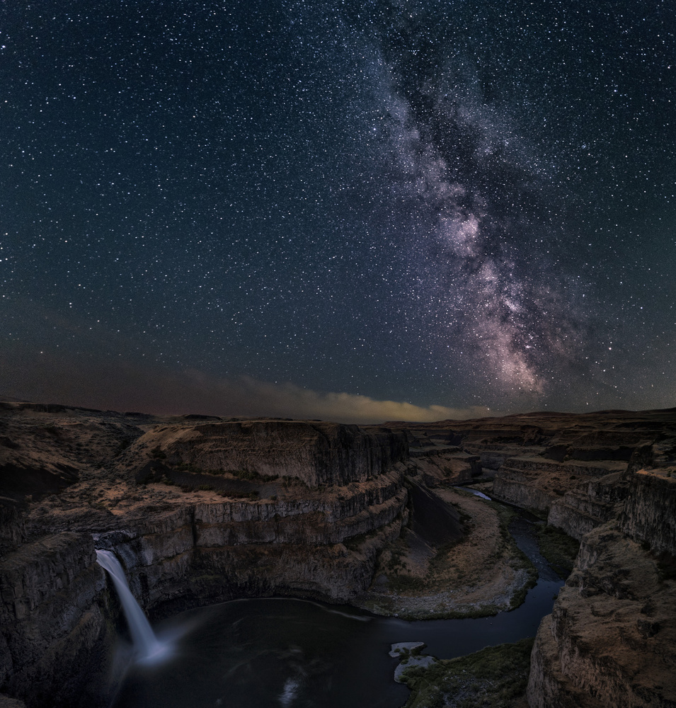 A piece of fine art art photography titled Milky Way Over Palouse Falls by Lydia Jacobs