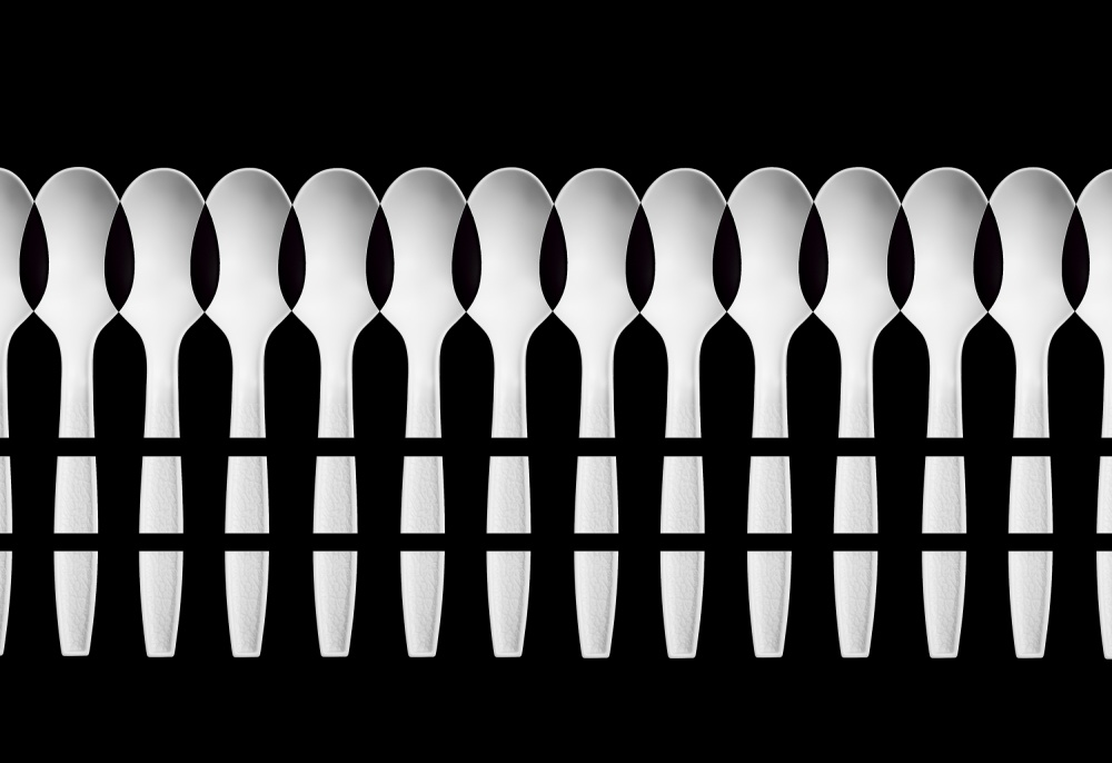 A piece of fine art art photography titled Spoons Abstract: Fence by Jacqueline Hammer