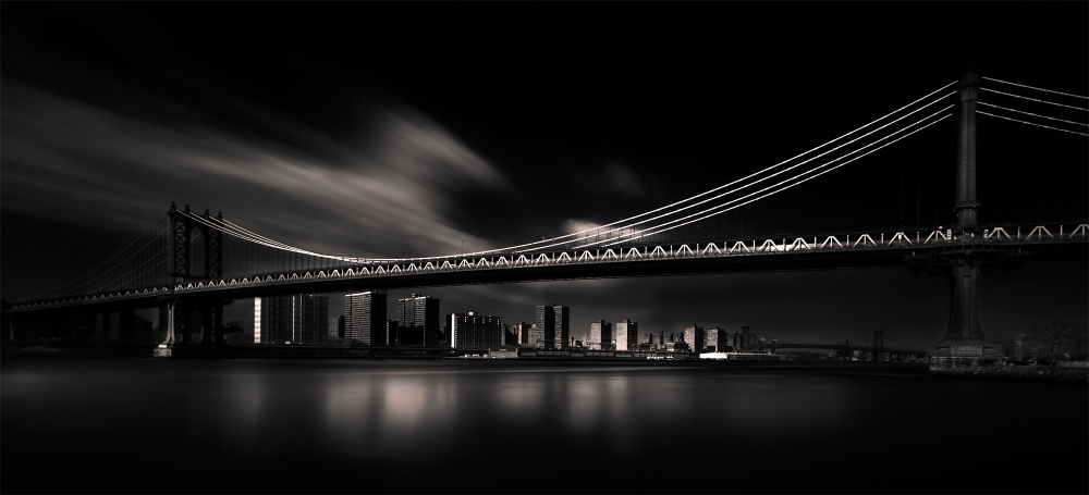 A piece of fine art art photography titled Manhattan Bridge by Peter Futo