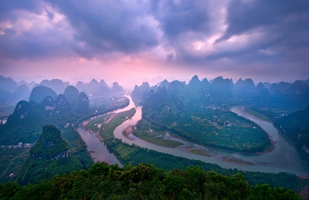 A piece of fine art art photography titled Li River: a Mountain View by Yan Zhang