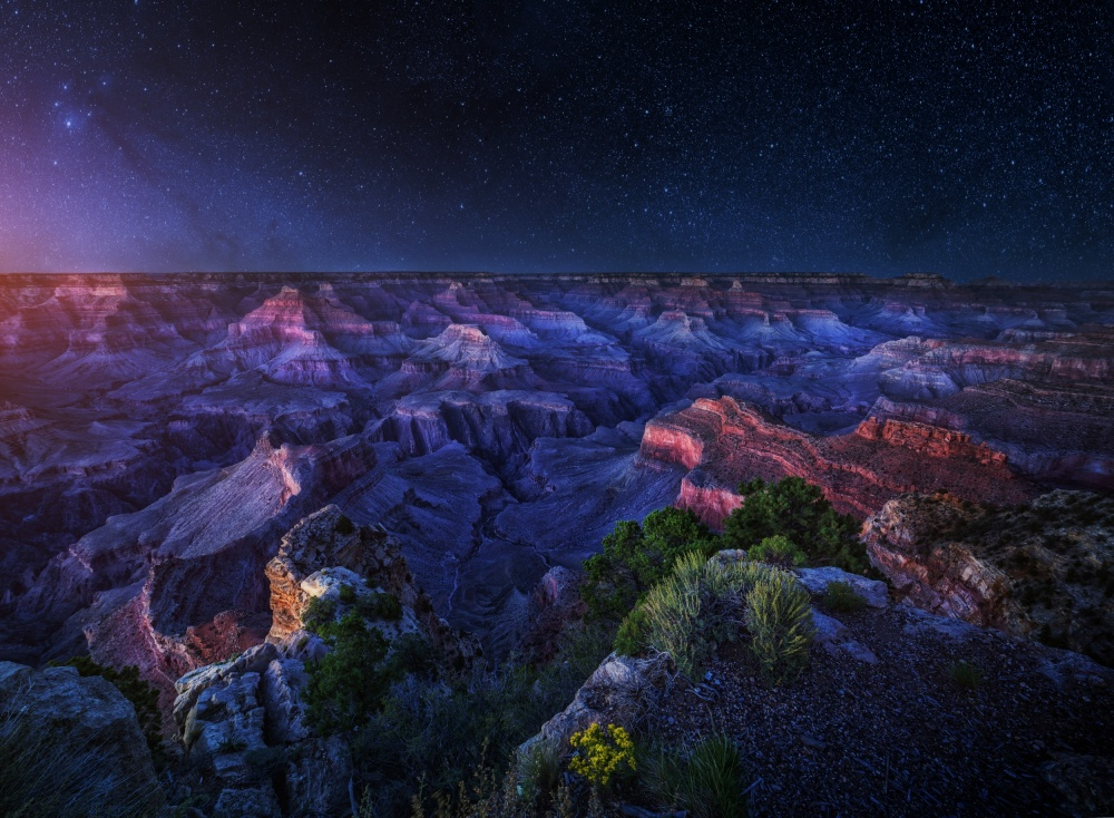 A piece of fine art art photography titled Grand Canyon Night by Juan Pablo de Miguel