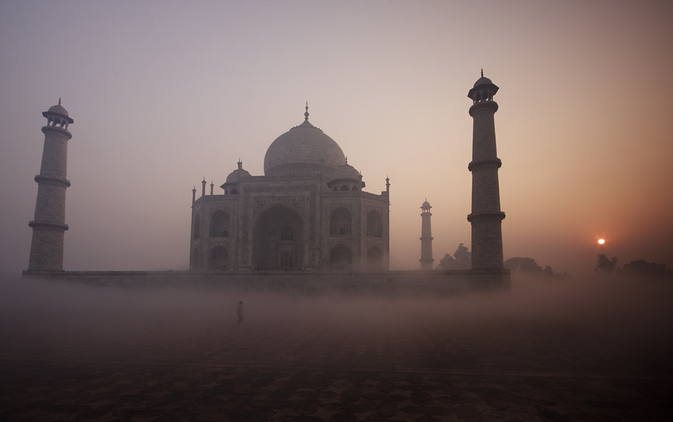 A piece of fine art art photography titled Sunrise Over the Taj Mahal by Geraint