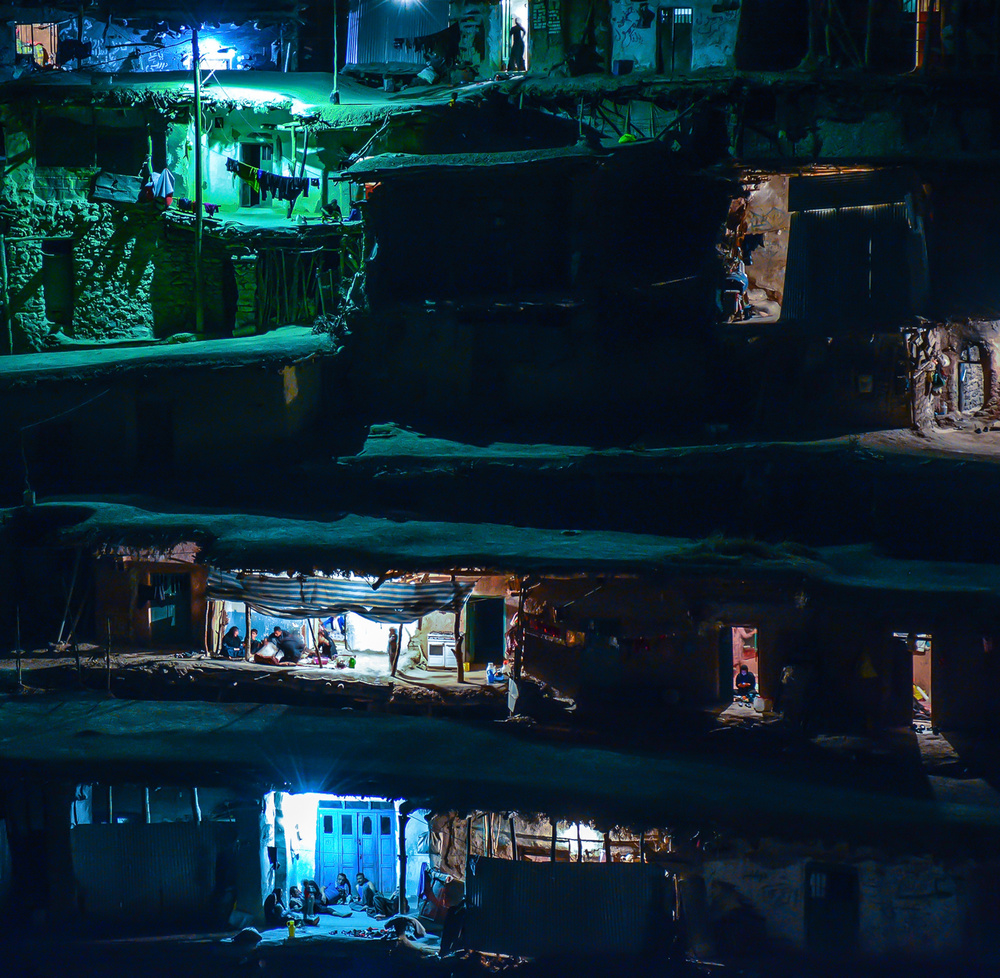 A piece of fine art art photography titled Night In the Village 2 by Amin Dehghan